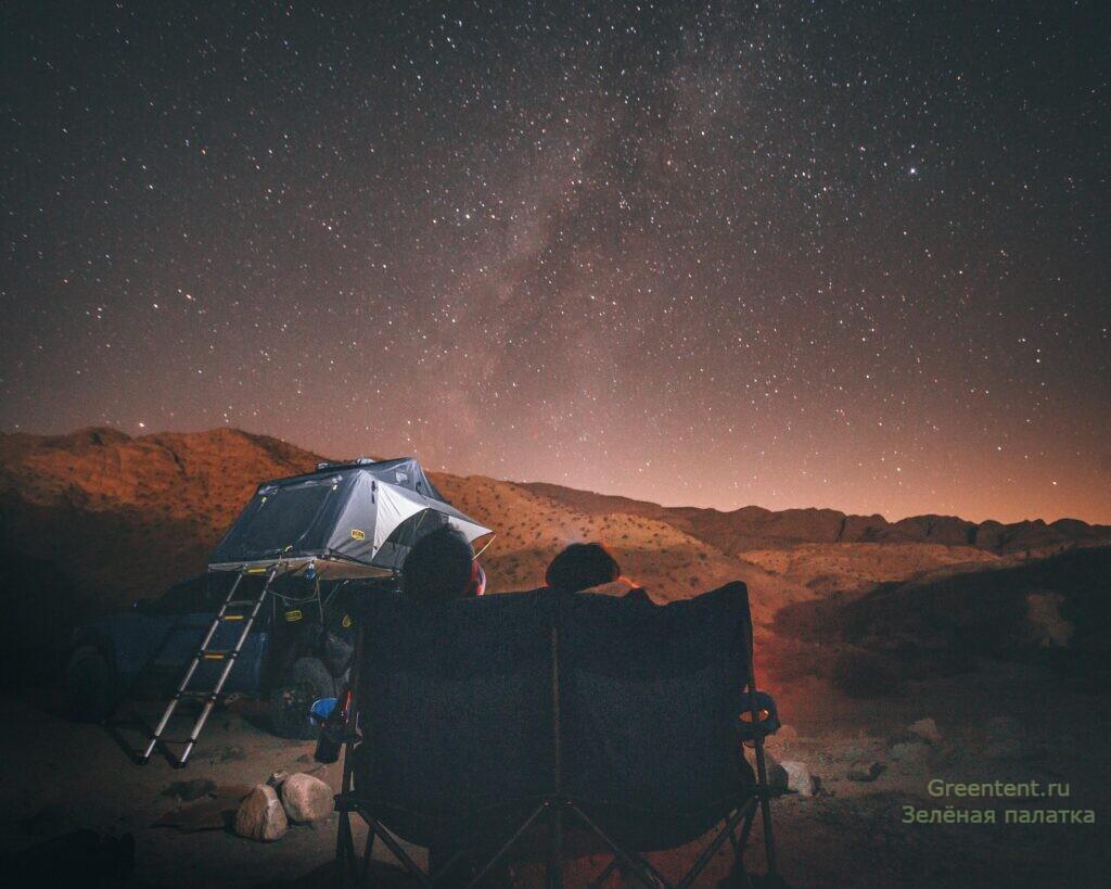 палатка на авто, небо