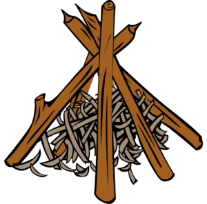 костёр шалаш