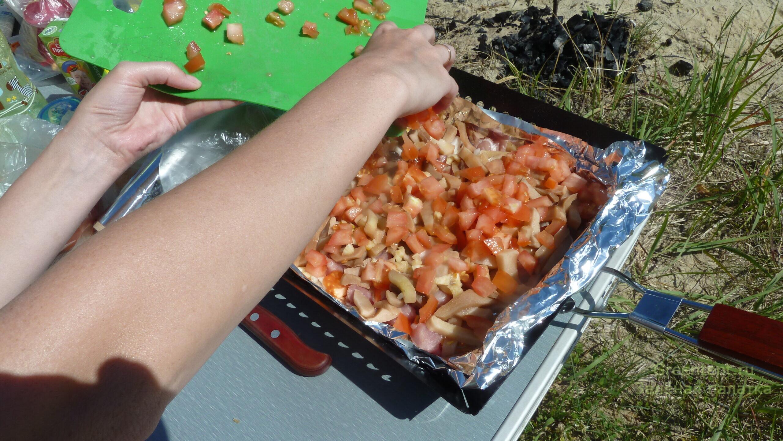 сковорода гриль готовить на природе еда отдых туризм костер рецепт мясо
