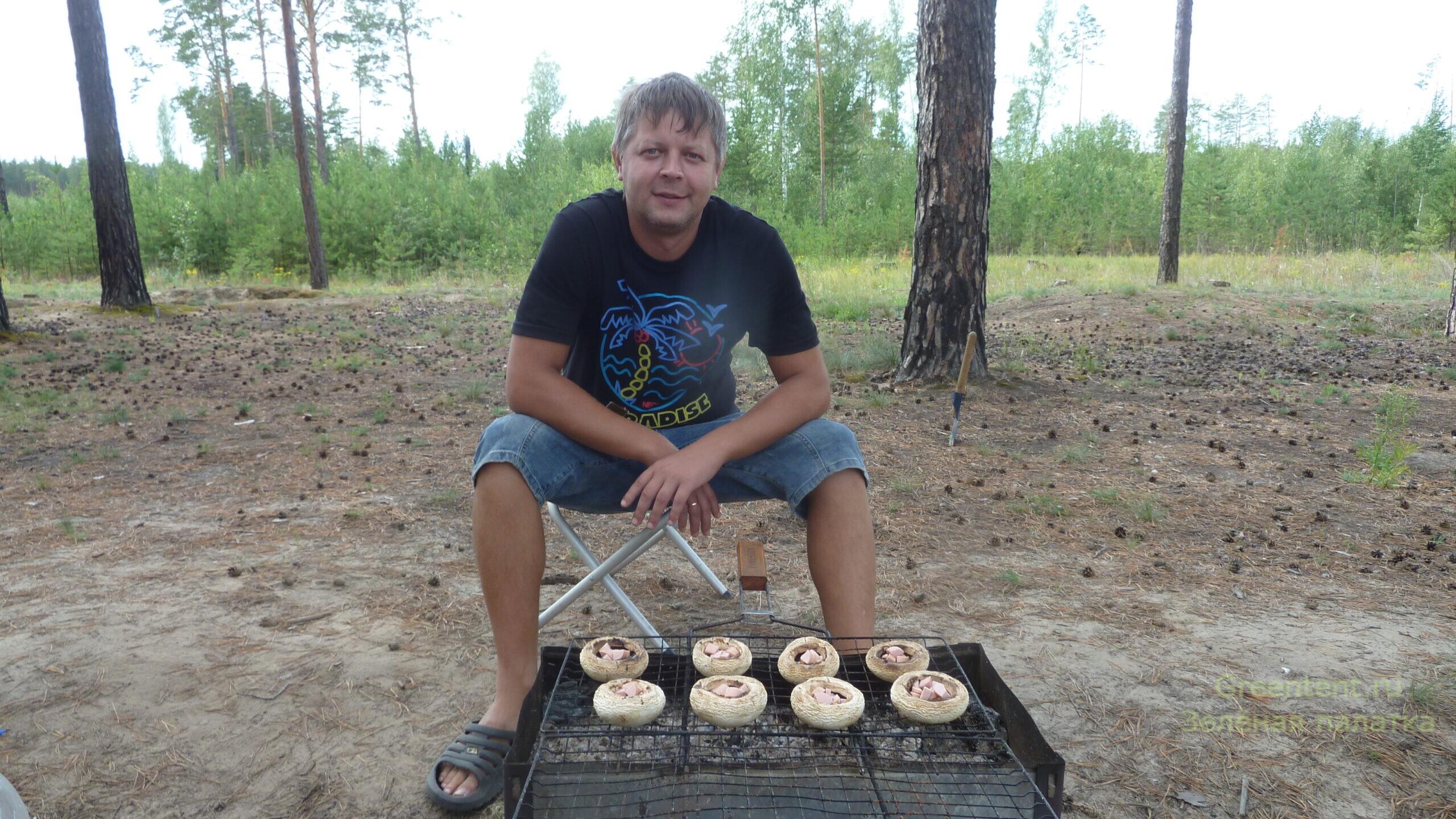 готовим на природе рецепт на костре грибы шампиньоны лес природа отдых с палатками дикарями