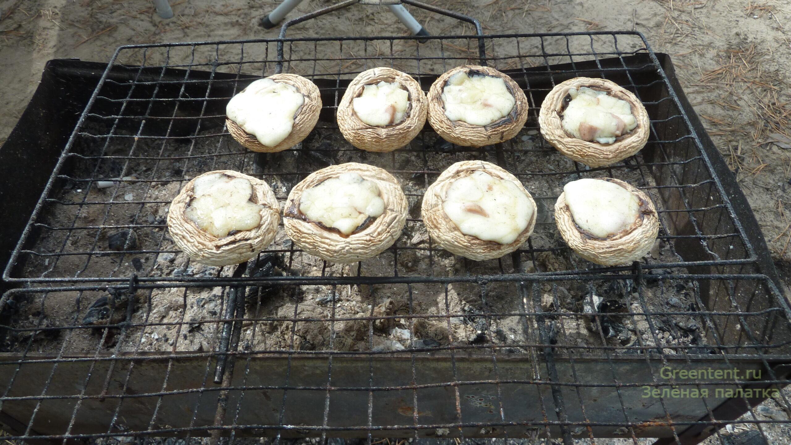 еда рецепт грибы шампиньоны на косте лес природа отдых туризм